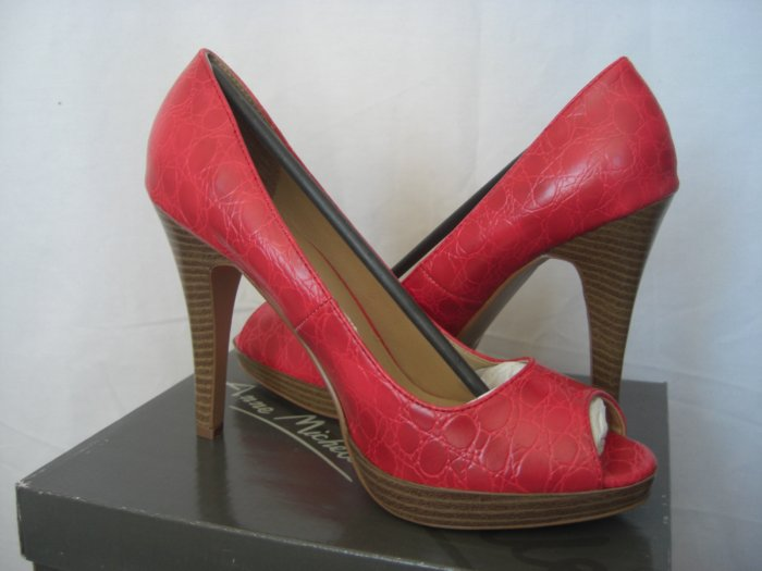 "NIB Sexy 4"" Platform Red Snake Skin Vegan Faux Leather Peep Toe Heels 10"
