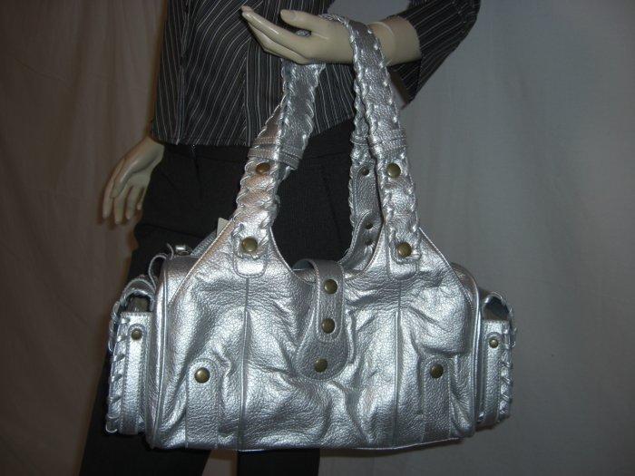 NWT Designer Inspired Silverado Silver Satchel handbag