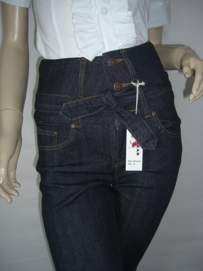 NWT Belted Dark Stretch High Waist Corset Skinny Jean L Large