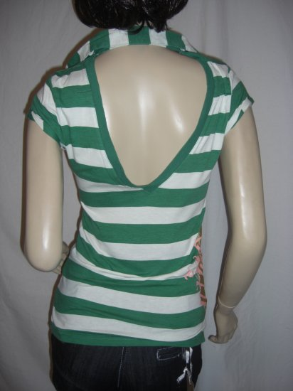 NWT Sexy Rockabilly Nautical Stripe Backless Polo Top M Medium