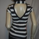 NWT Sexy Rockabilly Nautical Stripe Backless Polo Top L Large Green