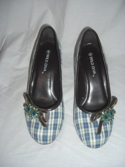 "NIB Retro Rockabilly Style 3"" Plaid Jeweled Round Toe Heels Size 7"