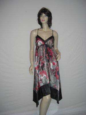 New Satin Boho Chic Asymm Paisly Scarf Maxi Dress S Small