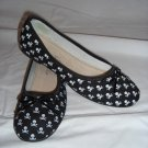 Skull & Crossbone Ballet Flats in Black 7.5