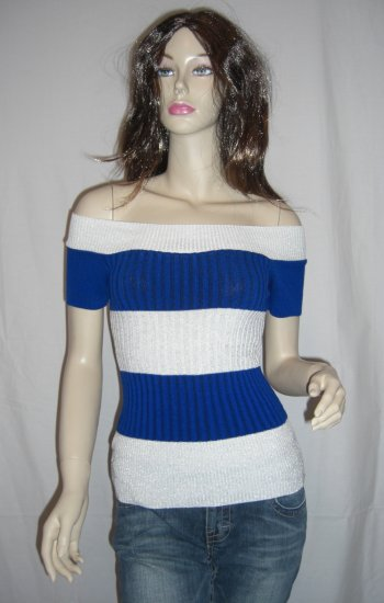 Sexy Off the Shoulder Metallic Striped Sweater Top L Large