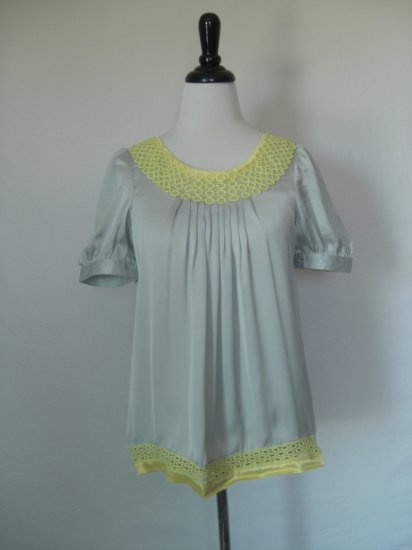 NWT NWT Silver Gray 100% Silk Tunic Top with Crochet trim L