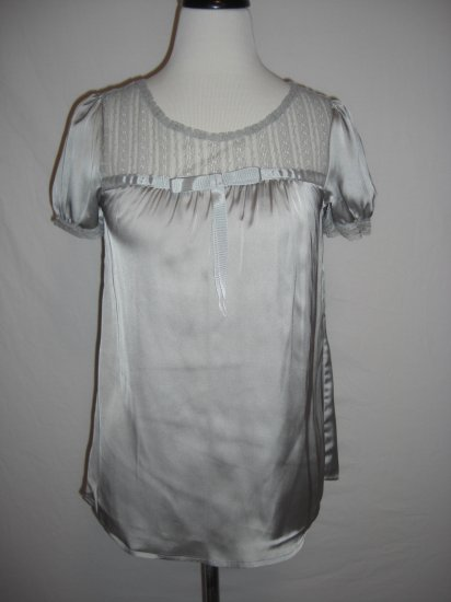 New Chic Satin Lace Tent Shift Tunic Top Shirt L LRG