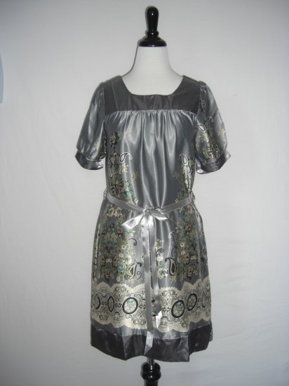 "New ""Eva"" Paisley Scarf Print Belted Shift  Dress L Large"