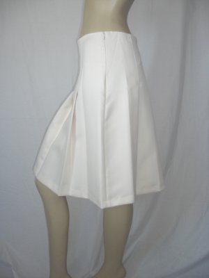 NWT Arden B Cream lined Pleated A line Career Skirt 4