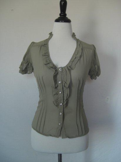 NWT Sheer Ruffle Pintuck Pleat Voile Dress Shirt Top S
