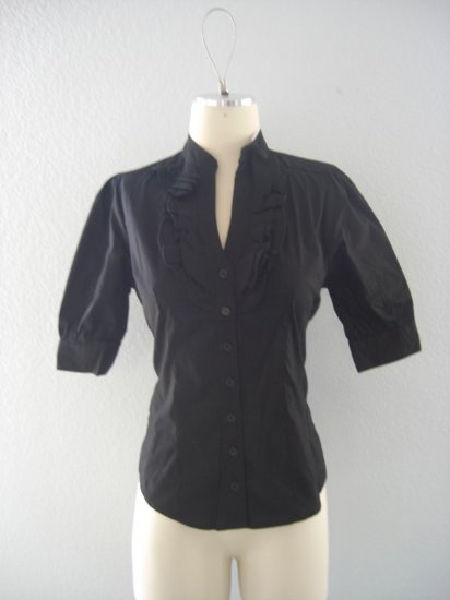NWT Deep V ruffle Tuxedo Button Dress Shirt Top L