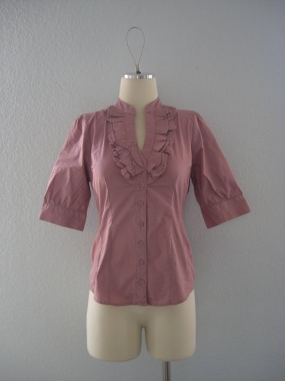 NWT Deep V ruffle Tuxedo Button Dress Shirt Top M