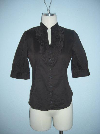 NWT Deep V ruffle Tuxedo Button Dress Shirt Top L