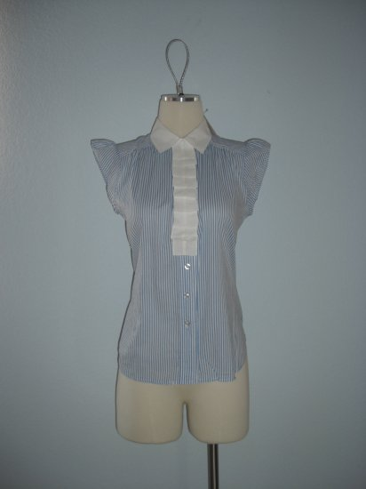 NWT Forever 21 Pinstripe Ruffle Button Dress Shirt Top S