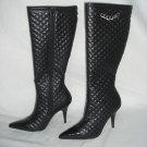 NIB Designer Quilted & Patent High Blk Stilletto Boot 5.5