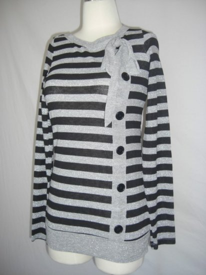 New Striped Button Bow Metallic Silver Sweater top S Small