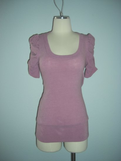 New Scoop Neck Puff Sleeve Sweater top M Medium