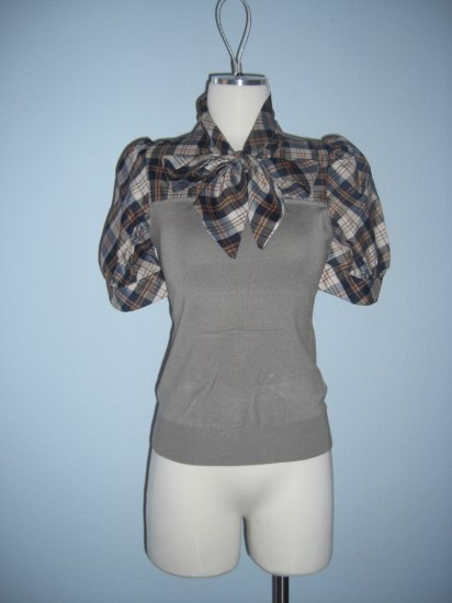 New 2fer Plaid Neck tie Career Sweater Top S Small