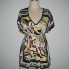 New Abstract Kimono Dolman Sleeve Top M Medium