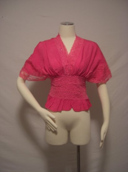 NWT Japan Lace Trim Kimono Top One Size XSmall-Small