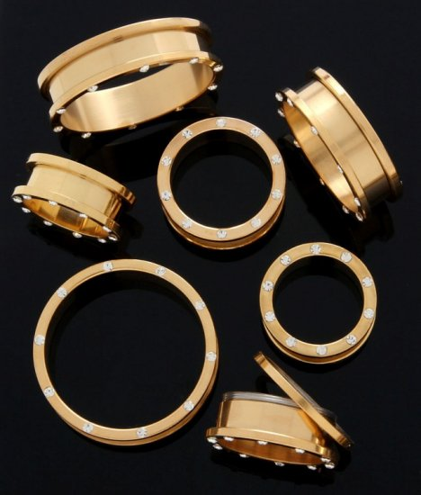 GOLD PLATED C.Z. SCREW ON TUNNELS