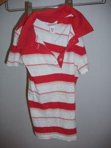 055. nwot hollister red striped polo