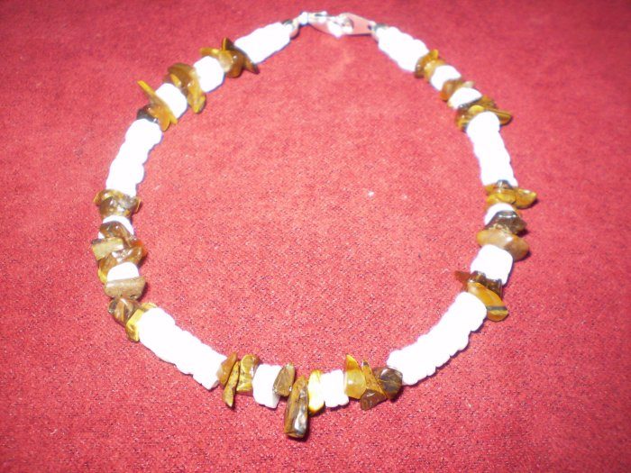 Natural Shell and Tiger's Eye Chip Men's Bracelet