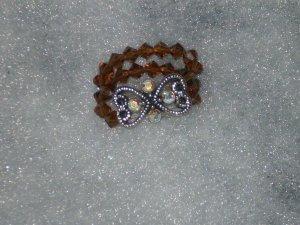 Swarovski Crystal Smoked Topaz Double Strand Slider Stretch Ring