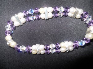 Swarovski Crystal Beaded and Pearl Double Strand Bracelet