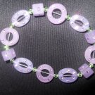 Purple and Green Resin and Swarovski Crystal Stretch Bracelet