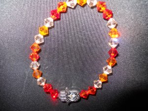 Fire Opal, Sun and Peach Swarovski Crystal Hamsa Stretch Bracelet