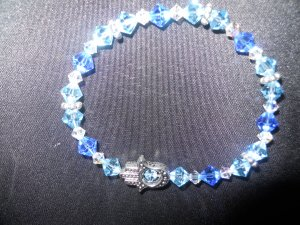 Blue toned Swarovski Crystal Hamsa Stretch Bracelet