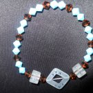 Turquois and Brown Resin and Swarovski Crystal Stretch Bracelet