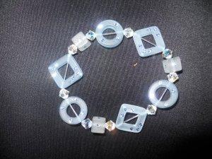 Blue Resin and Swarovski Crystal Stretch Bracelet