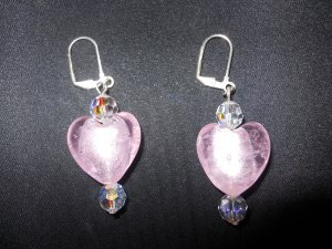 Pink Heart Glass Earrings with Swarovski Crystals