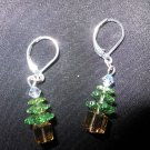 Swarovski Crystal Green Christmas Tree Earrings