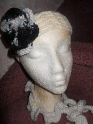 White Crochet Headband with Black, Grey and White Flower