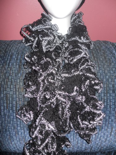 Black and Silver Crochet Scarf