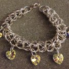 Chainmaille and Swarovski Crystal Heart Bracelet