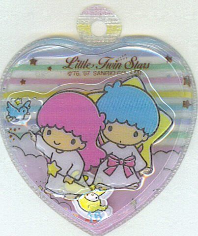 SANRIO LITTLE TWIN STARS 2 IN 1 RAINBOW STRIPES CLEAR HEART SHAPE #16