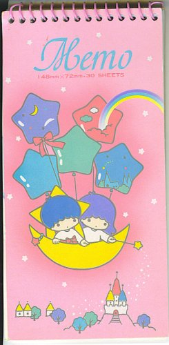 1976 VINTAGE SANRIO LITTLE TWIN STARS MEMO SPIRAL BOOK