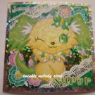 KAWAII JAPAN SANRIO SEGA JEWEL PET PRISM SILVER STICKER SEAL CARD #19 GREEN PUPPY DOG