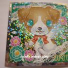 KAWAII JAPAN SANRIO SEGA JEWEL PET PRISM SILVER STICKER SEAL CARD #8 WHITE BROWN PUPPY DOG