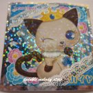 KAWAII JAPAN SANRIO SEGA JEWEL PET PRISM SILVER STICKER SEAL CARD #9 BROWN GREY CAT KITTEN