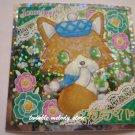 KAWAII JAPAN SANRIO SEGA JEWEL PET PRISM SILVER STICKER SEAL CARD #26 BROWN PUPPY DOG