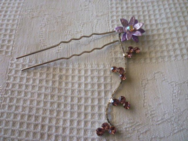 HAIR ACCESSORIES FASHION/WEDDING SILVER HAIR PIN STICK FLOWER DANGLE SWAROVSKI PURPLE CRYSTAL