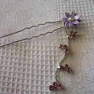 HAIR ACCESSORIES FASHION/WEDDING SILVER HAIR PIN STICK FLOWER DANGLE SWAROVSKI PURPLE CRYSTAL