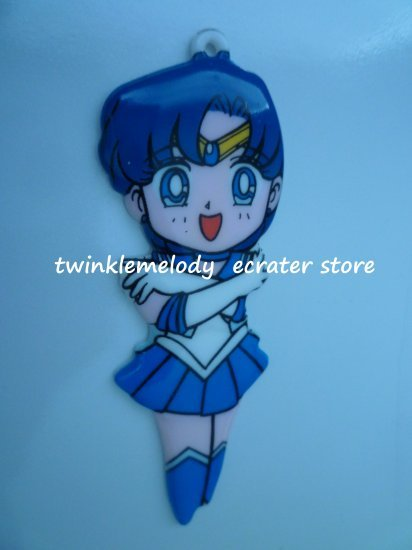 FLAT FIGURE SAILOR MOON SAILOR MERCURY PENDANT KEYCHAIN OR NECKLACE