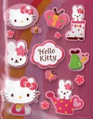 SANRIO HELLO KITTY NEW GLITTERY LAYERED STICKER DIE CUT 14 PCS.