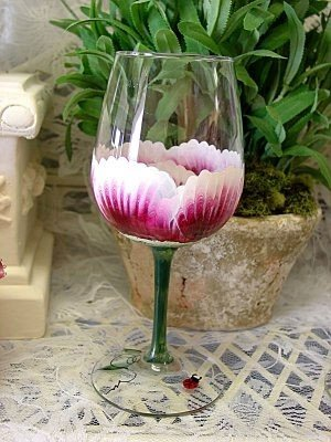 3-D Wild Rose Wine Glasses, set of 4